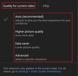 youtube video quality settings